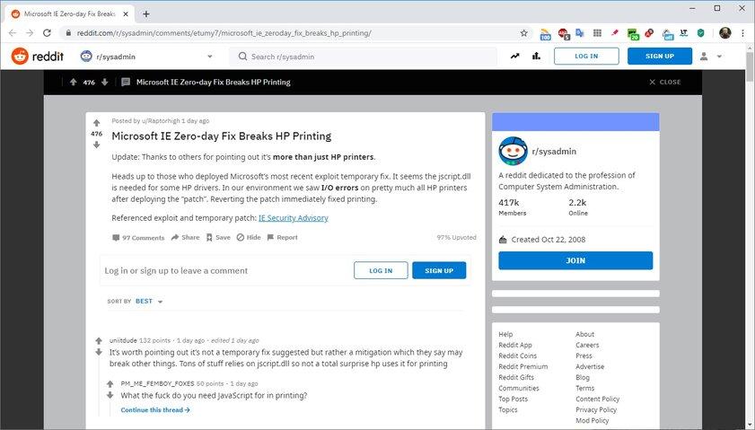 Исправление уязвимости Internet Explorer ломает функцию печати. Но есть способ все починить