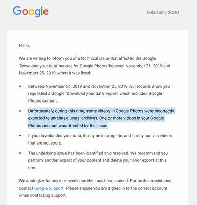 Google отправляла незнакомцам приватные видео изGoogle Photos