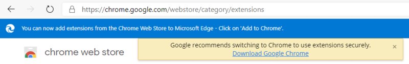 Google предупреждает пользователей Edge обопасности Chrome-расширений