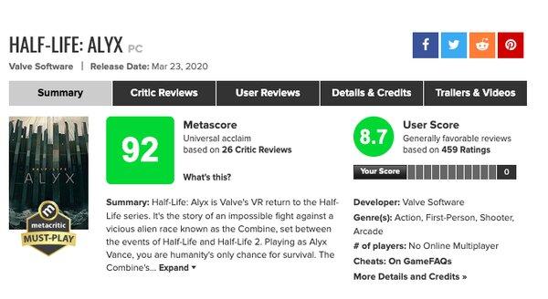 Критики: Half-Life: Alyx— шедевр