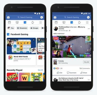 Facebook запускает стриминг игр намобильных устройствах