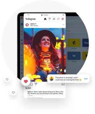В Opera длякомпьютеров встроили Instagram