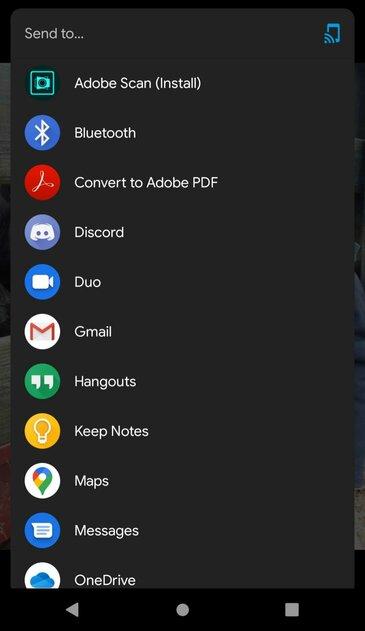 Adobe показывает рекламу собственных приложения всистемном меню Android