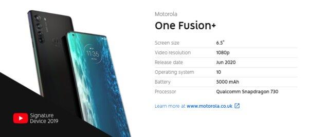 YouTube раньше времени раскрыл характеристики Motorola One Fusion+