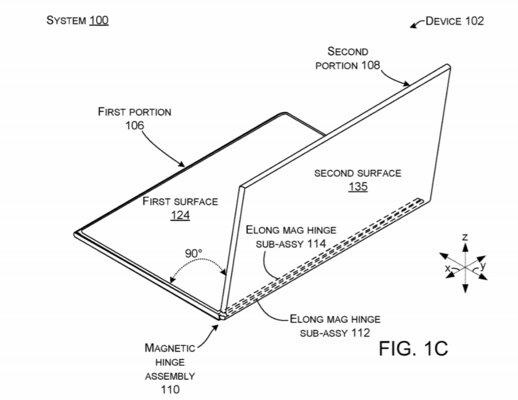 Microsoft запатентовала складной планшет намагнитах сразделяемым надвое экраном
