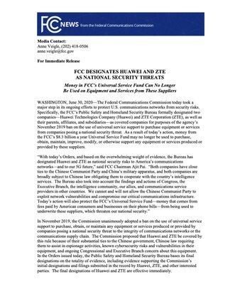 США окончательно признали Huawei иZTE угрозой национальной безопасности