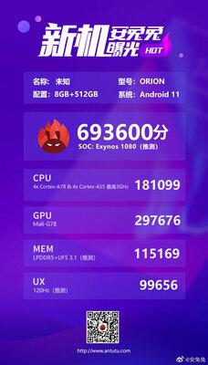 Загадочный процессор Exynos 1080 оказался мощнее, чем Snapdragon 865+