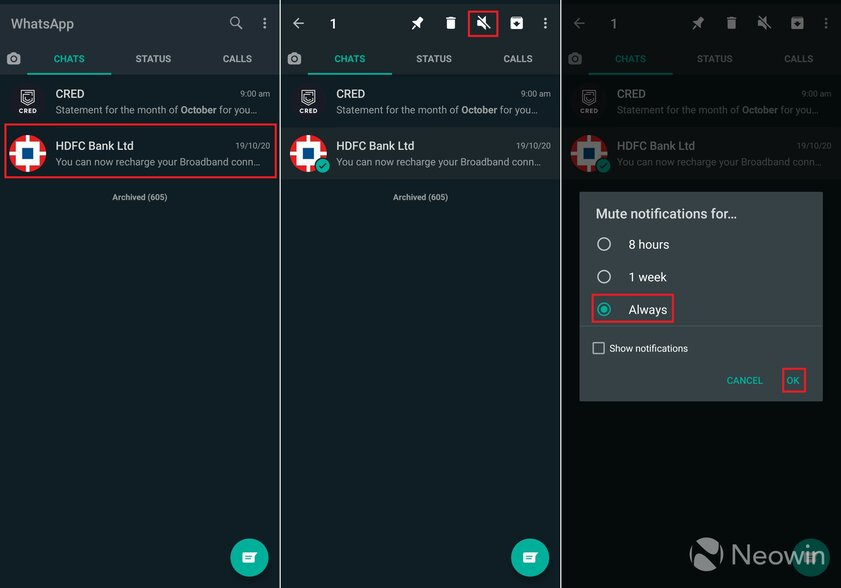 WhatsApp теперь позволяет навсегда отключать звук уведомлений вчатах
