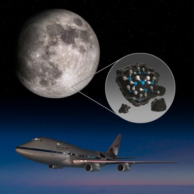 NASA впервые обнаружило воду насолнечной стороне Луны