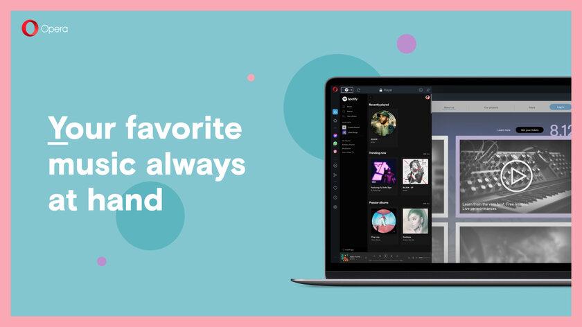 На боковой панели Opera появился плеер дляSpotify, Apple Music иYouTube Music