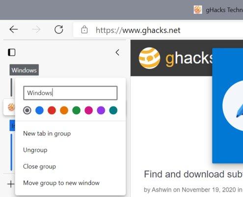 Microsoft Edge вслед заChrome получил функцию группировки вкладок