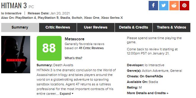 Критики оценили Hitman 3 выше, чем Cyberpunk 2077: всети появились первые обзоры