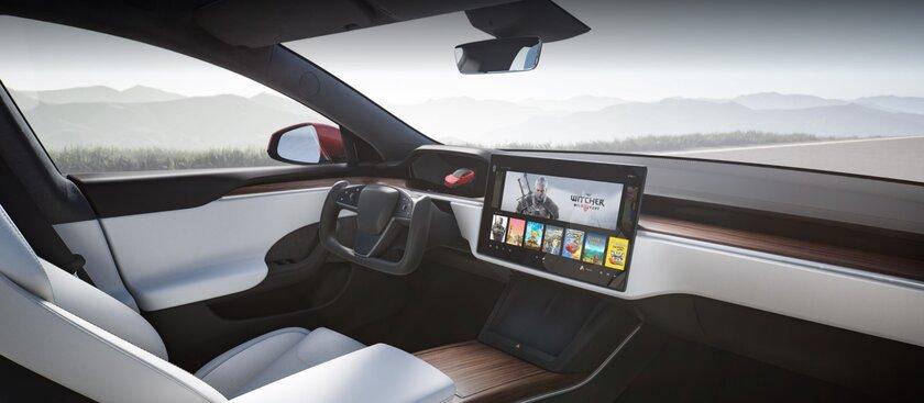 На Tesla Model S можно поиграть в«Ведьмак 3»: авто неуступает PS5 попроизводительности