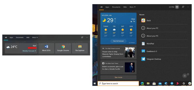 Эксперименты продолжаются: Microsoft нашла новое место дляпогоды вWindows 10