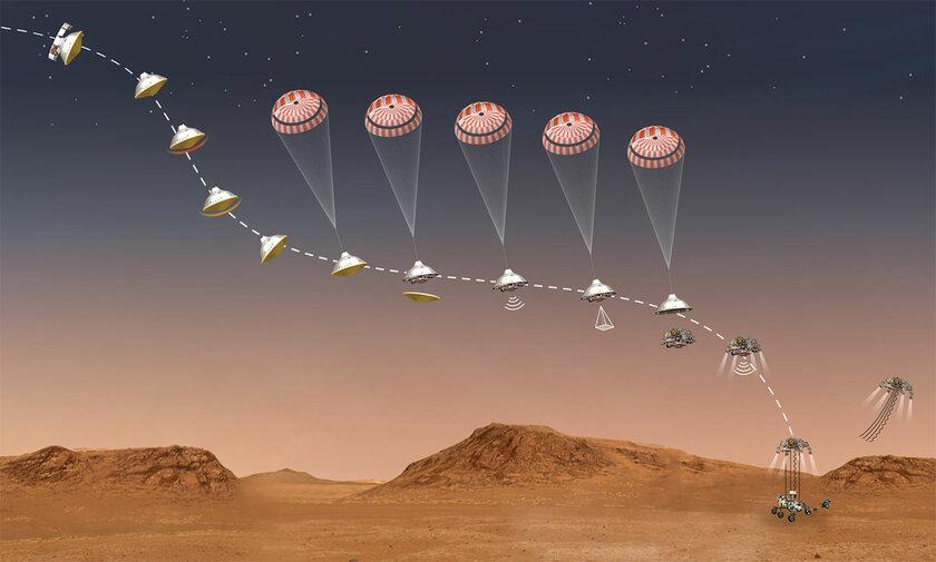NASA показала, как будет происходить посадка наКрасную планету нового марсохода