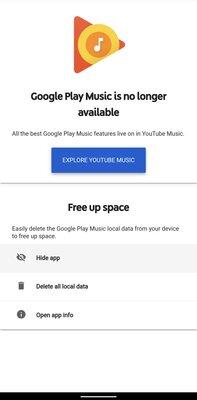 Google Play Музыка получила последнее обновление— приложение просит удалить себя