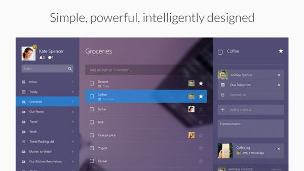Приложения Wunderlist для мобильной и десктопной Windows получили серьезный редизайн