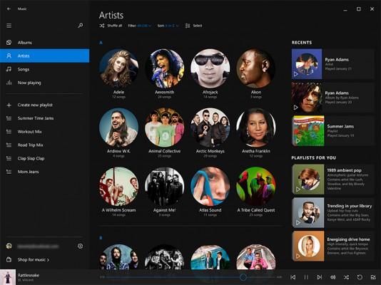 «Музыка» для Windows 10 получила обновленный интерфейс
