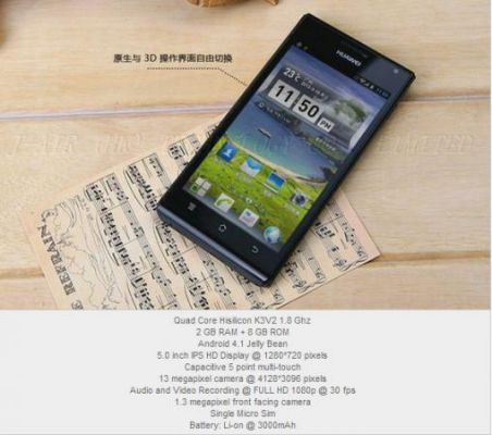Huawei готовит смартфон среднего ценового сегмента Ascend P2