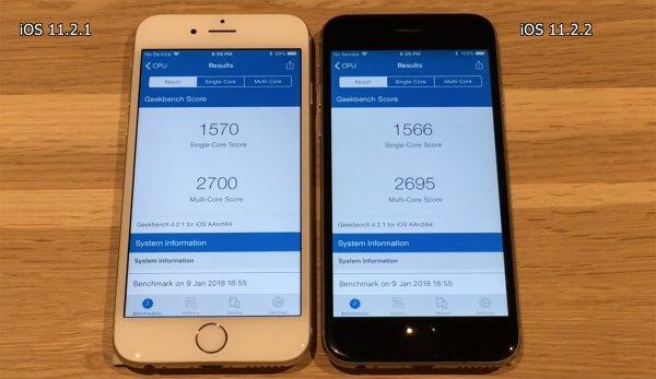 Новость озамедлении iPhone вiOS11.2.2 оказалась фейковой
