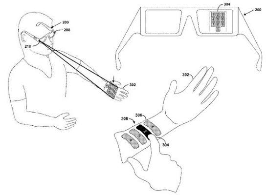 Google Glass сможет проецировать изображение на руки и другие объекты
