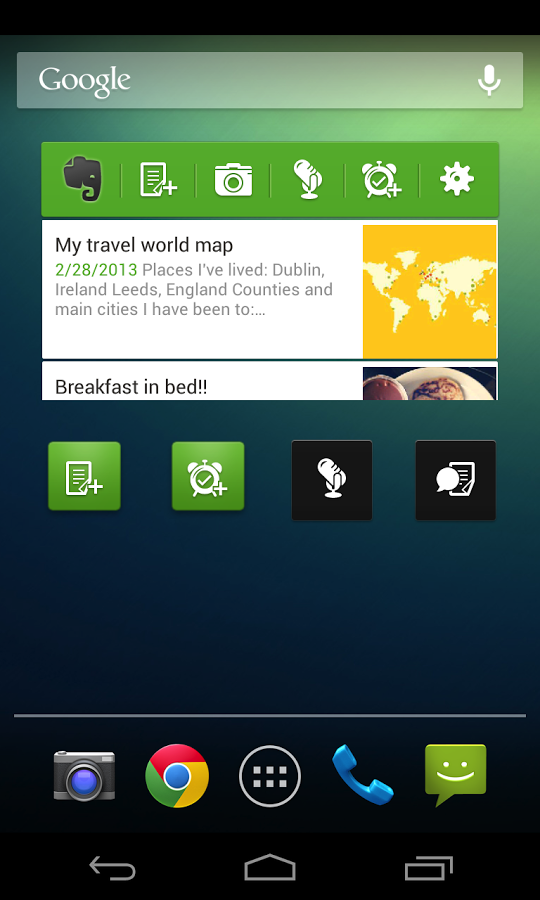 Evernote widget