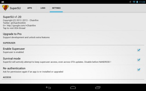 SuperSU 0.82. Скриншот 01